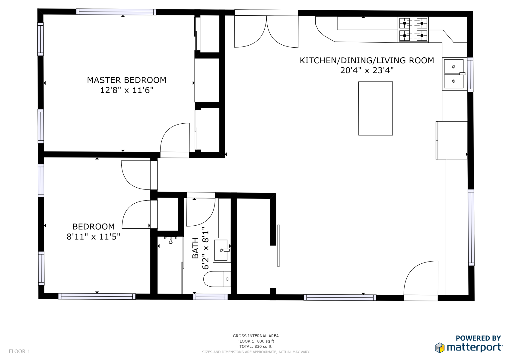Floor Plan for Baker's Cottage | 5 mins to UVA + the Hospital | Near Main Street/Downtown Mall