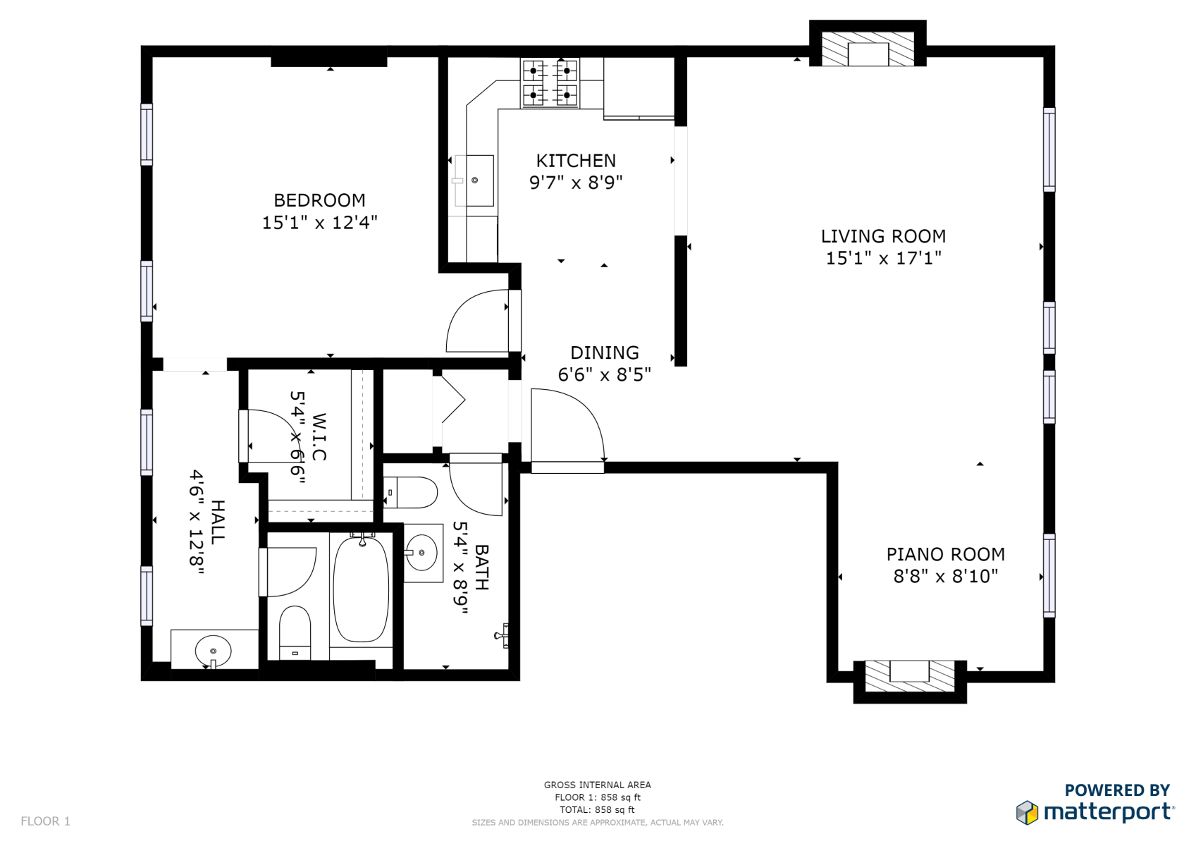 Floor Plan for Old Met #306 | Renovated historic apartment overlooking Downtown Mall